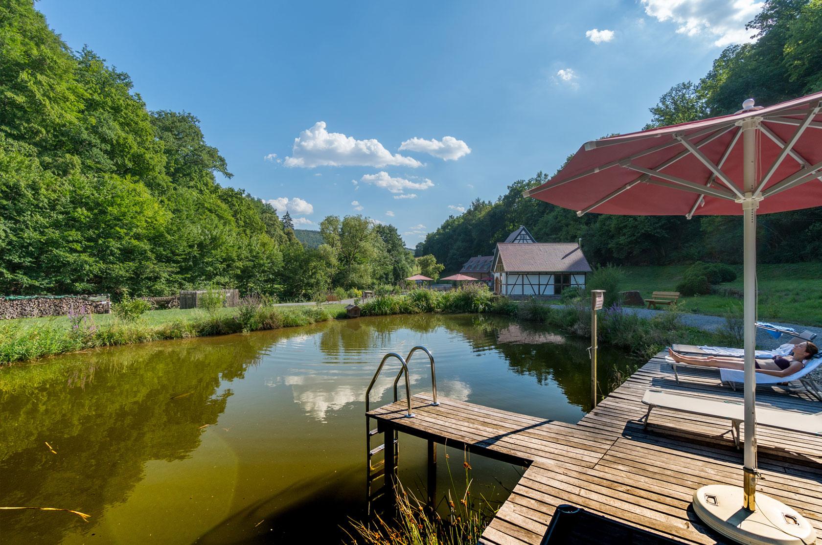 Baumhaushotel Seemuehle Teich