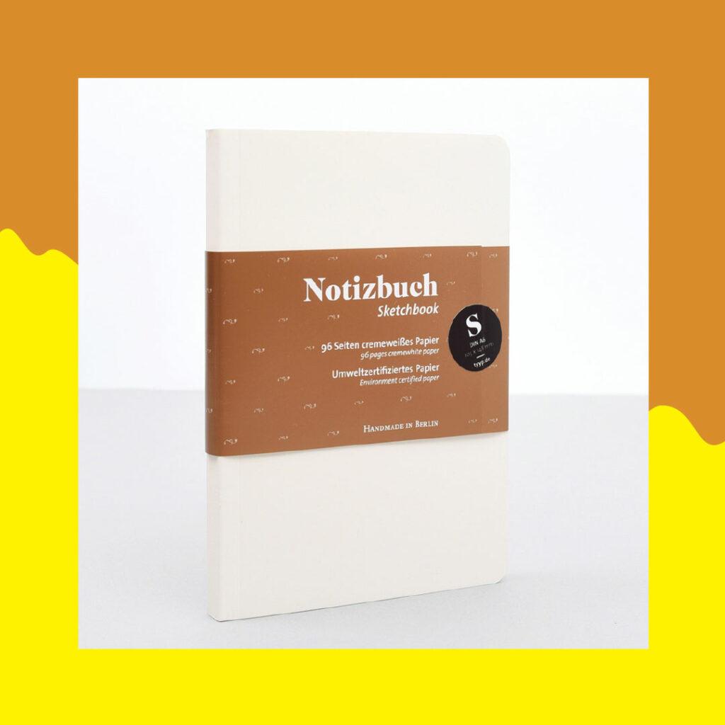 handgemachtes cremeweißes notizbuch mit 96 seiten